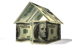Dollars house. Conceptual 3D rendered house made by dollars Royalty Free Stock Photos