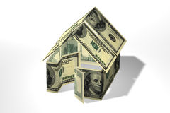 Dollars house. Conceptual 3D rendered house made by dollars Stock Photo