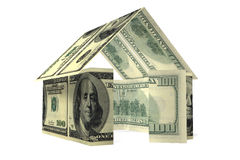 Dollars house. Conceptual 3D rendered house made by dollars Royalty Free Stock Image