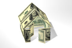 Dollars house. Conceptual 3D rendered house made by dollars Stock Images