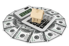 Dollars with House and calculator Royalty Free Stock Images