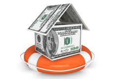Dollars House with Life Buoy Royalty Free Stock Photo