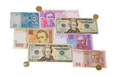Dollars and hryvnia. On a white background isolated Royalty Free Stock Photo