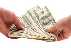 Dollars in a human hand Stock Photography