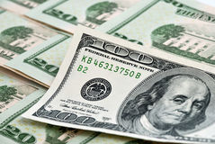 Dollars. Hundred dollars on other bills Stock Images