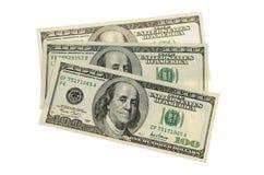 100 dollars i: Knippend inbegrepen weg Stock Fotografie