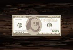 100 dollars Icônes de facture d'argent Billets de banque détaillés de devise Carto Illustration Libre de Droits