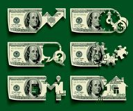 Dollars icons set. Isolated raster version of vector icons set of cutting dollars banknotes with shadow affect on a green background (contain the Clipping Path Stock Image