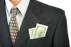 Dollars In Pocket Of Coat Royalty Free Stock Photos