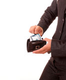 Dollars In Purse In Hands Isolated Stock Photos