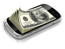 Dollars inside smart phone Stock Photo