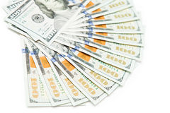 Dollars. Isolated on a white background Stock Photos
