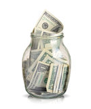 Dollars in a jar Royalty Free Stock Photo