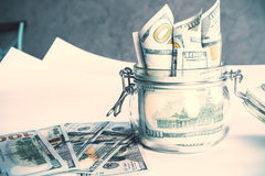 Dollars in jar Royalty Free Stock Photography