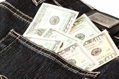 Dollars in the Jeans Pocket Stock Images