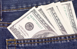 Dollars in jeans pocket Royalty Free Stock Photo