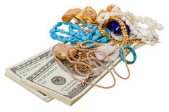 Dollars and jewelry Stock Image