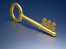 Dollars key. Golden key with dollar symbol on blue background - 3d render Stock Photo