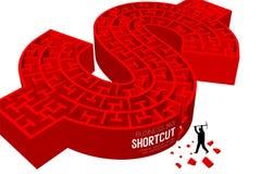 Dollars kortere weg van Bedrijfs ondertekenen de online Labyrint of labyrintmuntusd Verenigde Staten vorm met zakenman, 3D ontwer Stock Fotografie