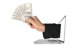 Dollars laptop Royalty Free Stock Photo