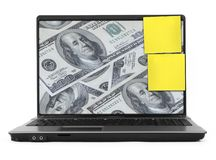 Dollars on laptop screen Stock Photography