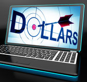 Dollars On Laptop Shows Financial Currencies Stock Photos