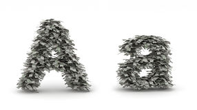 Dollars letter A. Figure maked from dollars like leafs, symbol of letter A vector illustration