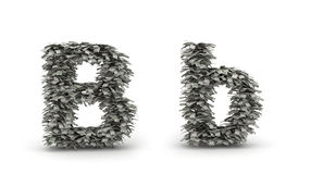 Dollars letter B. Figure maked from dollars like leafs, symbol of letter B vector illustration