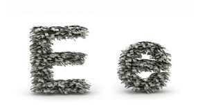 Dollars letter E. Figure maked from dollars like leafs, symbol of letter E stock illustration