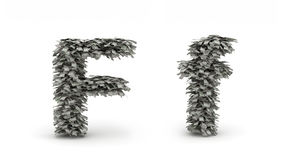 Dollars letter F. Figure maked from dollars like leafs, symbol of letter F royalty free illustration