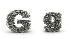 Dollars letter G. Figure maked from dollars like leafs, symbol of letter G royalty free illustration