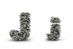 Dollars letter J. Figure maked from dollars like leafs, symbol of letter IJ vector illustration