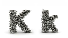 Dollars letter K. Figure maked from dollars like leafs, symbol of letter K royalty free illustration