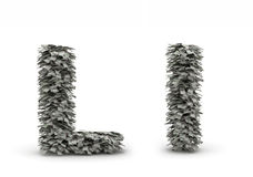 Dollars letter L. Figure maked from dollars like leafs, symbol of letter L stock illustration