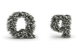 Dollars letter Q. Figure maked from dollars like leafs, symbol of letter Q stock illustration