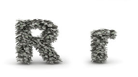 Dollars letter R. Figure maked from dollars like leafs, symbol of letter R vector illustration