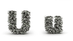 Dollars letter U. Figure maked from dollars like leafs, symbol of letter U vector illustration