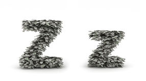 Dollars letter Z. Figure maked from dollars like leafs, symbol of letter Z royalty free illustration