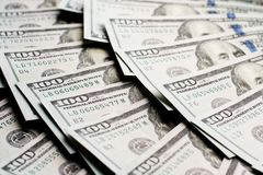 Dollars lie in a fan Stock Images