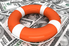 Dollars with Life Buoy Stock Image
