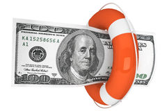 Dollars with Life Buoy Stock Photography