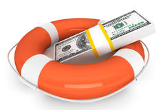 Dollars with Life Buoy Royalty Free Stock Images
