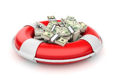 Dollars in lifebuoy 3D. Rescue of the money. Isolated on white Royalty Free Stock Image