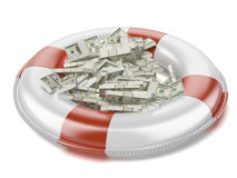 Dollars in lifebuoy Stock Photos