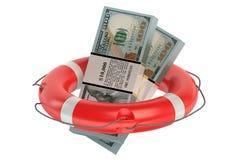 Dollars in lifebuoy Stock Photo