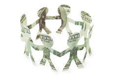 Dollars little people cutouts dance in ring Royalty Free Stock Photo