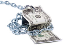 Dollars and lock five Stock Photography