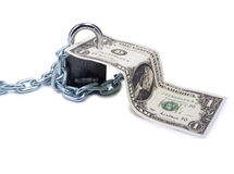 Dollars and lock four Stock Photography