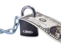 Dollars and lock one Royalty Free Stock Photo