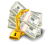 Dollars locked. Dollar paper money under lock and key with gold chain Stock Photos